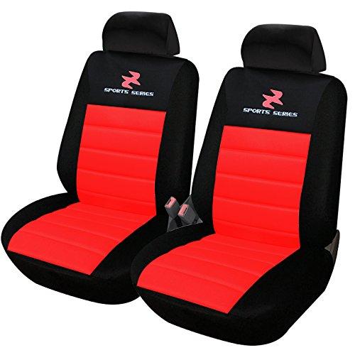 Woltu as7257-2 set coprisedili anteriori auto 2 posti seat cover protezioni universali per macchina tessuto poliestere rosso-nero