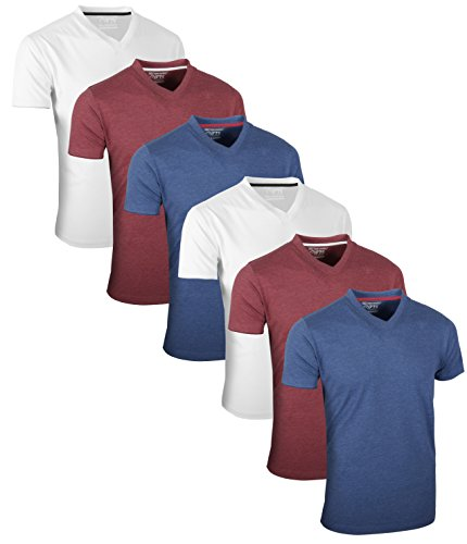 Full Time Sports 6 Pack Blau Wein Weiß mit V-Ausschnitt Tech T-Shirts (9) X-Large (X-large, Wein)