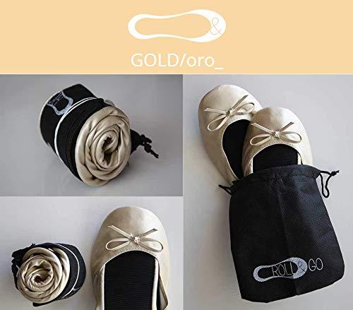 Lote 12 Bailarinas doradas Roll&go Publiclick, fabricadas en cuero sintetico y suela termoplastica...