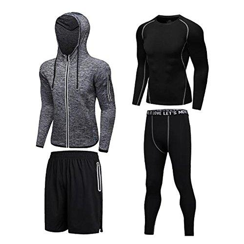 Männer 4 Stücke Sport Anzug Quick Dry Basketball Kleidung Strumpfhosen Laufanzüge Kompression Shirt Gym Training Lauf Trainingsanzüge