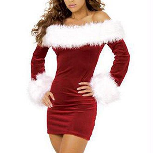 Santa Claus Kostüm Anzug aus Schulter Weihnachten Weihnachten Cosplay Fancy Dress Outfit (Santa Anzug Für Frauen)