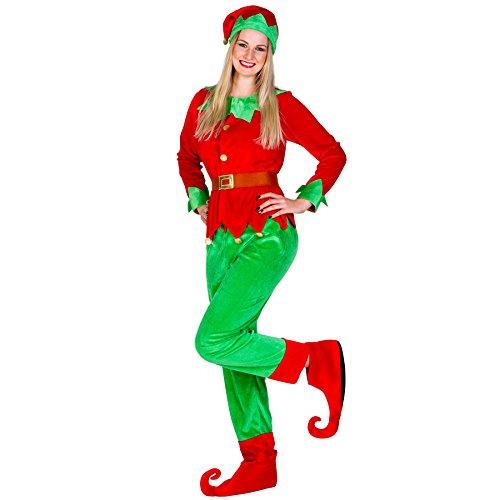Frauenkostüm Weihnachtselfe | Langarm-Shirt in Jacket-Optik | Bequeme Hose | Schuhüberzieher und Gürtel (L | Nr. 300292)