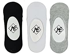 Me Stores Men's Solid Loafer Socks No Show Socks With anti ankle skit silicon support(Pack Of 3) (Grey, Black, White)