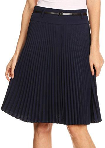 sakkas-fv3543-knee-length-pleated-a-line-skirt-with-skinny-belt-navy-large