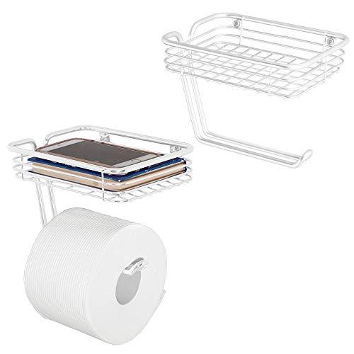 mDesign Wandhalterung WC-Seidenpapier Rolle Halter und Spender mit Ablage für Badezimmer Ablage-Wandhalterung, hält, und spendet eine Rolle-langlebig Metall in Matt Weiß, 2Stück