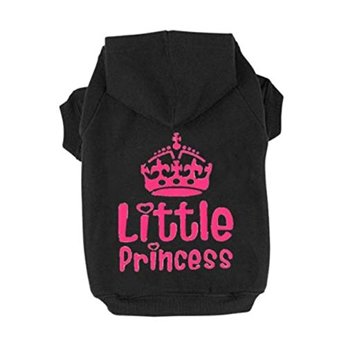 Veena Casual Puppy Cat Pet Dog Clothes Sweatshirt Hoodie for Winter Warm Cute Coat Outfit Black Xs