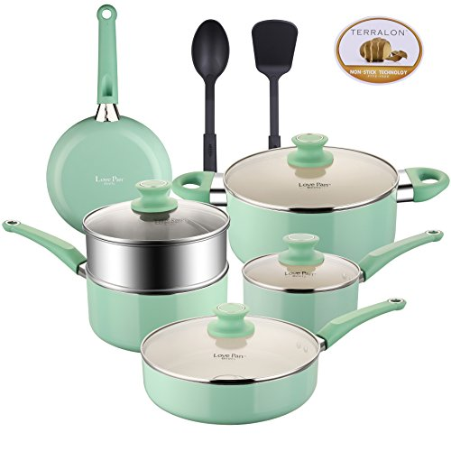 Lovepan Beets Pots and Pans Set, White Ceramic Coating Nonstick Aluminum Cookware Set With glass lids and Nylon Utensils, Sauce Pan with Steamer Dishwasher Safe PTFE, PFOA Free, 12-PCS, Tiffany Blue