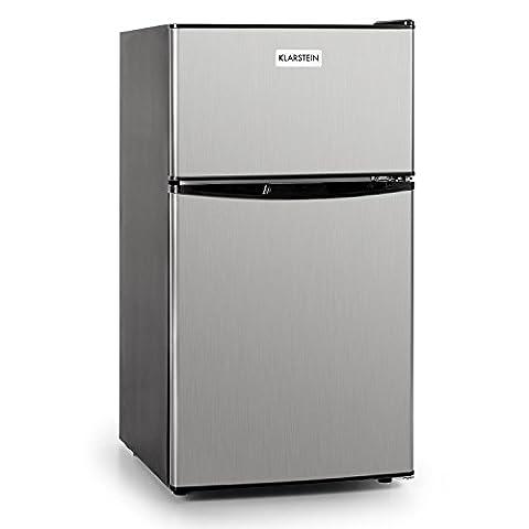 Klarstein Big Daddy Cool • Kühl- und Gefrierkombination • Mini-Kühlschrank • Minibar • 61 Liter Volumen • 24 Liter Gefrierfach • 2 Glas-Ablagen • Gemüsefach • 2 Türablagen • höhenverstellbare Standfüße • regelbarer Thermostat • Edelstahl • silber
