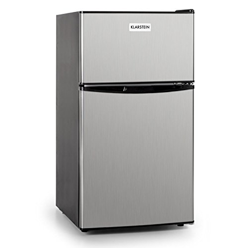 Klarstein Big Daddy Cool • Mini-Kühlschrank • Kühl- und Gefrierkombination • Minibar • 61 Liter Volumen • 24 Liter Gefrierfach • 2 Glas-Ablagen • Gemüsefach • Edelstahl • silber