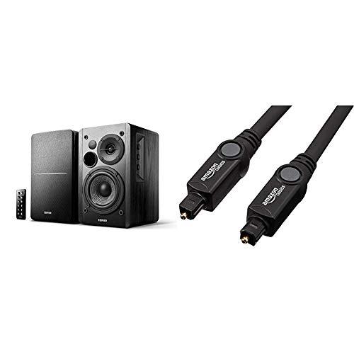 Aktivboxen Edifier Studio R1280DB 2.0 schwarz Bluetooth Retail & AmazonBasics Toslink Optisches Digital-Audiokabel, 1,83 m