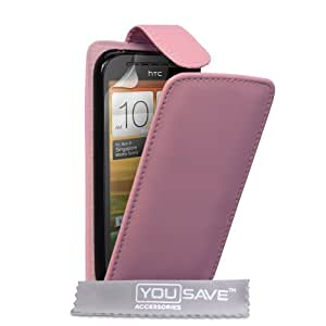 Mobile phone case cover for HTC One SV Pink PU Leather Flip Case