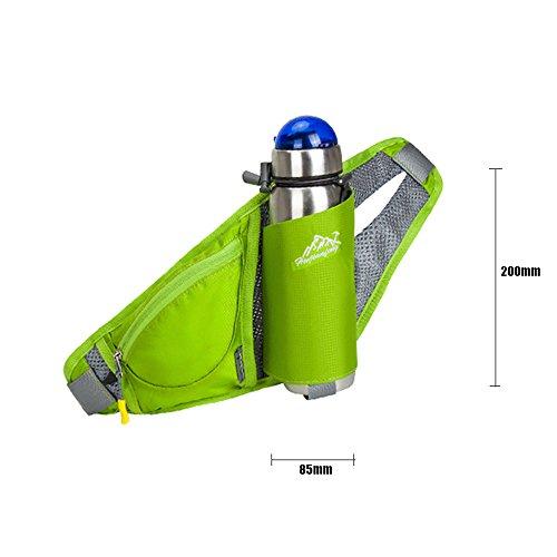 Hüfttasche mit Getränkehalter, Multi-Function Bauchtasche Licht Einstellbar Gürteltasche Hüftgürtel Tasche für Laufen Wanderungen Walken Sport und Reisen, Flasche nicht inclusive Blau