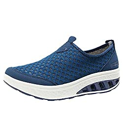 Makalon Paar Mode Freizeit Laufsport Socken Schuhe Damen Student Beiläufig Elastisch Leichtgewichtige Turnschuhe Mädchen Sport Schuhe Stiefeletten Slip On Schuhe Net Schuh (39 EU, Blau)
