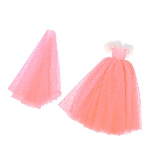 Sharplace Handgefertigt Puppe Trägerlose Hochzeitskleid Brautkleid + Brautschleier Kleidung Für...