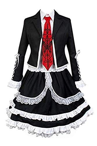 helymore Mujer Halloween Anime Cosplay Disfraz de Celestia Ludenberg Adulto Uniforme Escolar de Encaje Gotico, M