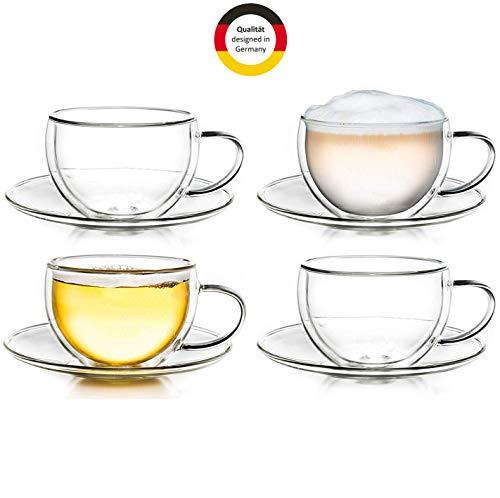 Creano Thermo-Tasse doppelwandige Tee-/Latte Macchiato Cappuccino Tasse mit Untersetzer 250ml, 4er Set