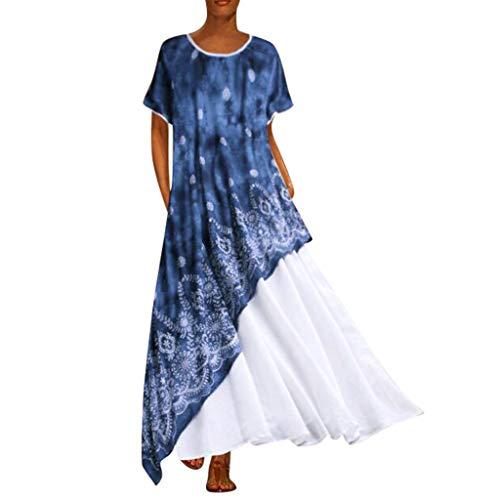 MAYOGO Kleid Damen Sommer Lang Elegant Schick Große Größen Ärmellose Maxikleider Blumenkleid Freizeitkleider Casual Cool Leichte Kleider mit Tasche S-5XL(Patchwork-Stil)