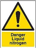 """Vsafety-Schilder 6A006AN-S Warnzeichen, """"Danger Liquid Nitrogen"""", selbstklebend, Hochformat, 150mm x 200mm, schwarz/gelb"""