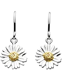 Dew Sterling Silver and Gold Plate Daisy Drop Earrings
