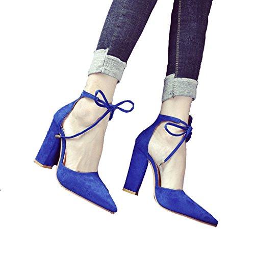ZHIFENGLIU Europa Und Die Vereinigten Staaten Große Größe Zeigte Dick Mit Fußring Band Schuhe Damen Nackt Farbe High Heel Sandaletten,Blue,43 (Nackt Gummi-band)