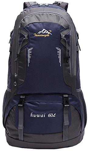 NEWZCERS 60L Impermeabile Borsa Sportiva Durevole Sportiva Borsa a Spalla Trekking Camping Escursionismo Zaino di Viaggio Zaino da Montagna Confezione da Arrampicata per gli Uomini Blu scuro
