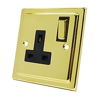 Victorian Polished Brass 1 Gang Socket Black Insert Metal Rocker Switch - 13 Amp Single Electrical Plug Socket