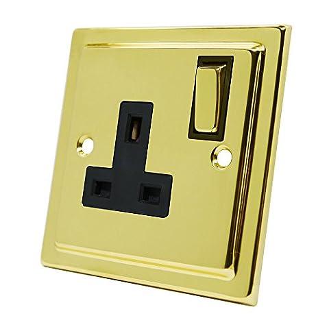 Style victorien Laiton poli 1Gang Socket Insert Noir Interrupteur à bascule en métal–13Amp simple prise électrique