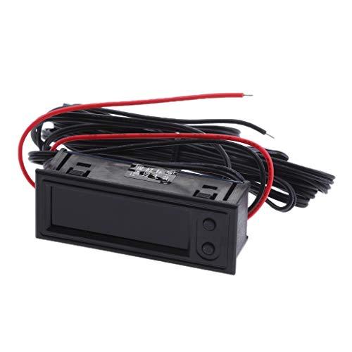57x22x17mm Auto Camper Digitale a LED Batteria Capacita Voltaggio Metro Orologio e Termometro con Sonda Impermeabile - Blu