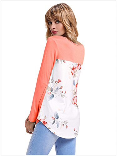 a Maniche Lunghe a Fiori Floreale Panel Panelled Spliced sul Rétro Crisscross Strap Spalline a Blocchi di Colore T-Shirt Maglietta Tee Top Arancione