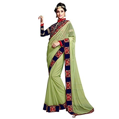 Mahotsav Green Net Embroidered Designer Party Wear Saree  available at amazon for Rs.2345