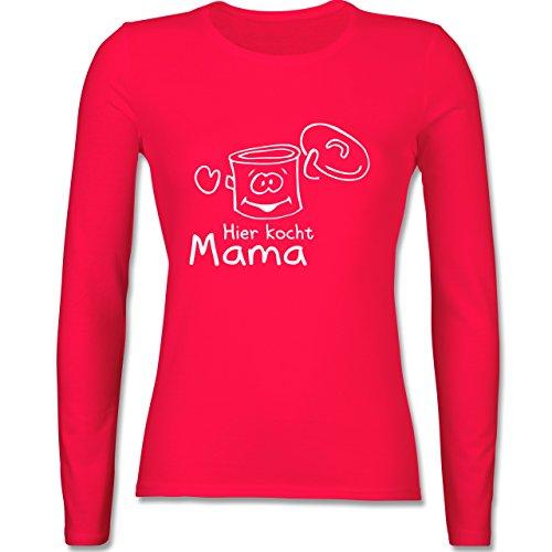 Küche - Hier kocht Mama - tailliertes Longsleeve / langärmeliges T-Shirt für Damen Rot
