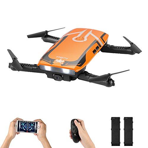 H818 Drone con Camara HD, Mini Dron Plegable WIFI FPV, una tecla de retorno / retención de la altitud / modo sin cabeza / 2.4G 4 canales 6 Sensor de gravedad Axis RC Selfie Quadcopter dron con dos Battries