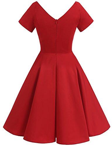 Gardenwed Damen Vintage 1950er V-Ausschnitt Rockabilly Kleid PartyKleid Retro CocktailKleid Red