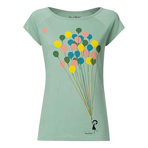 FellHerz Damen T-Shirt Balloons Grün Bio Fair, Größe:L -