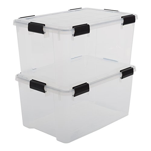 Iris Boxen All-Weather Box, 2er-Set, AT-L, für herausfordernde Lagerbedingungen, Plastik, transparent, 50 L, 59 x 39 x 29 cm -
