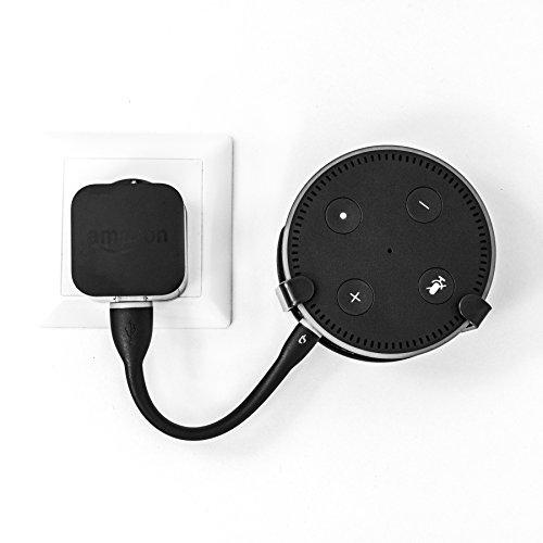SX-Concept Wandhalterung Amazon Echo Dot 2, schwarz, inkl. Silikon Micro USB Kabel, multifunktionell einsetzbar