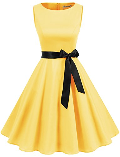 Gardenwed Damen 1950er Vintage Cocktailkleid Rockabilly Retro Schwingen Kleid Faltenrock Yellow XL