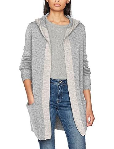 VERO MODA Vmlinber Ls Hood Cardigan Lcs, Gilet Femme, Gris (Light Grey Melange Detail:Contrast Edge In Snow Melange), 40 (Taille Fabricant: Large)