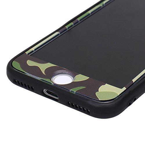 iPhone 7 Fullbody Hülle, iPhone 8 Fullbody Hülle, iPhone 7 3 in 1 Hülle, iPhone 8 3 in 1 Hülle, Moon mood® 3 in 1 Kratzfeste Kunststoff Rückseite Case Bumper Tarnung Rüstung Verteidiger Schutzhülle fü A Grün