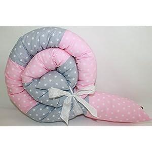 Bettrolle 160 cm Nestchen Bettschlange Bettschnecke auch andere Längen 180 cm 200 cm 250 cm Lagerungsrolle Sterne rosa/ grau