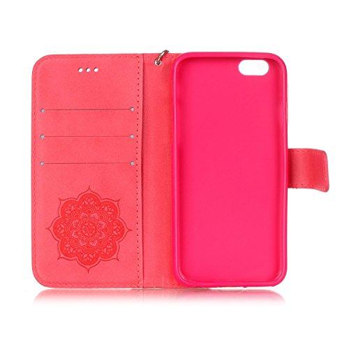 Custodia iPhone 6S Plus Elegante,iPhone 6 Plus Custodia in pelle,Felfy iPhone 6 Plus 6S Plus Retro Vintage Rigida Embossing Dipinto Carina Orso Modello Portafoglio Flip Magnetico Floding Premium PU pe Rosso-2