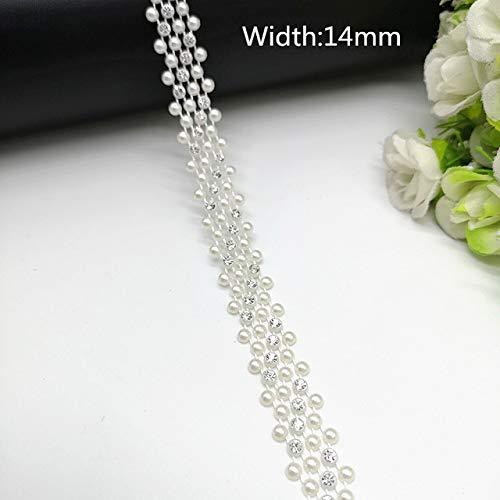 Applique Perlen (1 yard Strass Kette Perle Kristall Kette Nähen Auf Borten Hochzeitskleid Kostüm Applique # ZL01-25 [10])
