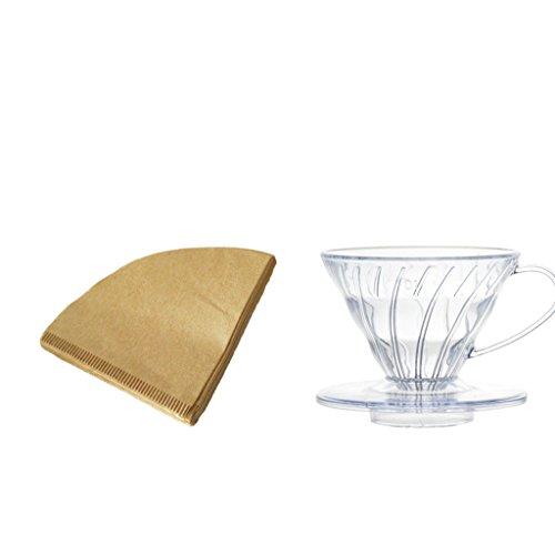 Baoblaze Kaffee Filter Halter + 40 stk. Kaffee Papierfilter Set