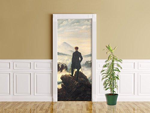 """Bilderdepot24 Foglio adesivo per porte Caspar David Friedrich - vecchi maestri """"Viandante sul mare di nebbia"""" - autoadesivo, Direttamente dal Produttore"""