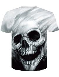 018b1a8ed Unisex 3D Patrón Calavera O-Cuello Impreso Casual Manga Corta Camisetas Top  Tees Camiseta Impresa