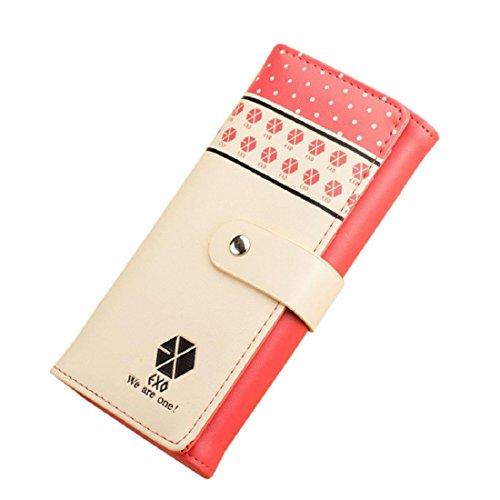Vovotrade Clip dei soldi della borsa Button raccoglitore della frizione della borsa del supporto di carta (rosa) rosso