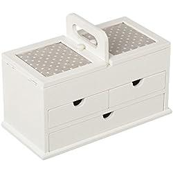 Caja costurero nórdica blanca de madera para salón Vitta - Lola Derek