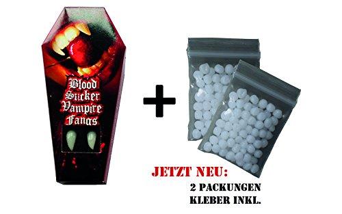 "Vampirzähne Eckzähne ""Blood Sucker"", mit Abformmasse Thermoplast, Perfekter Halt! Vamp, Halloween, Vampir, Zombie, Dämon, Hexe, Fangs"