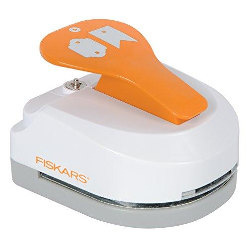 Fiskars Perforatrice Tag Maker 3 en 1 et œillets- Bannière/Miroir, pour 2 étiquettes (4.5 x 3.25 cm chacune), Avec 20 œillets, Acier de qualité/Plastique, Blanc/Orange, 1020502
