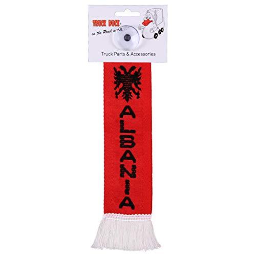 TRUCK DUCK® LKW Auto Minischal Albanien Albania Mini Schal Wimpel Flagge Fahne Saugnapf Spiegel Deko
